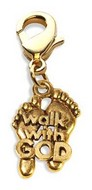 Walk with God Feet Charm Dangle in Gold