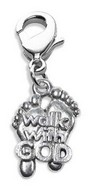 Walk with God Feet Charm Dangle in Silver