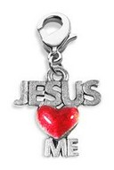 Jesus Loves Me Charm Dangle in Silver