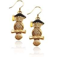 Owl Charm Earrings in Gold