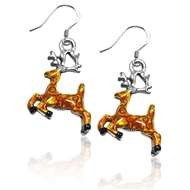Reindeer Charm Earrings in Silver