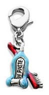 Tooth Paste with Brush Charm Dangle in Silver