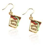 Dental Floss Charm Earrings in Gold