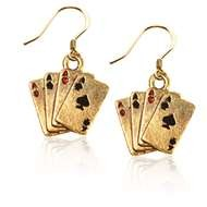 Aces Charm Earrings in Gold