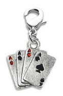 Aces Charm Dangle in Silver
