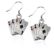 Aces Charm Earrings in Silver