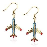 Airplane Charm Earrings In Gold