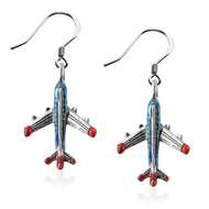 Airplane Charm Earrings In Silver