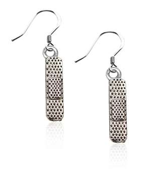 Band Aid Charm Earrings in Silver