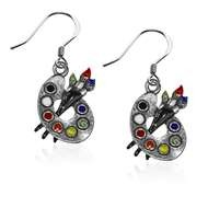 Artist Palette Charm Earrings In Silver