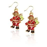 Santa Claus Charm Earrings in Gold