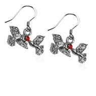 Doves Kissing Charm Earrings in Silver
