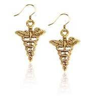 Medical Symbol Charm Earrings in Gold