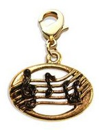 Disc with Musical Notes Charm Dangle in Gold