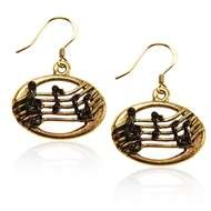 Disc with Musical Notes Charm Earrings in Gold