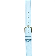 Leather Watchband Large Baby Blue Padded with Gold Clasp