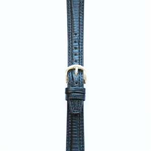 Leather Watchband Large Black Padded Skin with Gold Clasp