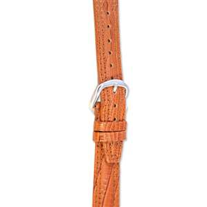 Leather Watchband Large Tan Padded Skin with Silver Clasp