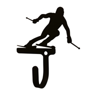 Skier Black Metal Wall Hook -Small