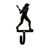 Womans/Girls Softball Black Metal Wall Hook -Small