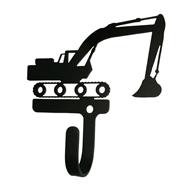 Excavator Black Metal Wall Hook -Small
