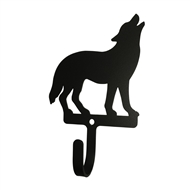 Howling Standing Wolf Black Metal Wall Hook -Small