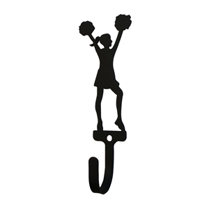 Cheerleader - Woman's / Girl's Black Metal Wall Hook -Small
