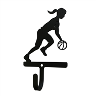 Basketball Woman/Girl Black Metal Wall Hook -Small