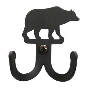 Bear Black Metal Double Wall Hook