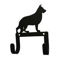 German Shepard Black Metal Leash Collar 2 Hook Holder