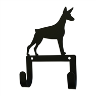 Doberman Black Metal Leash and Collar 2 Hook Holder
