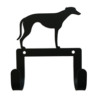 Greyhound Black Metal Leash and Collar 2 Hook Holder