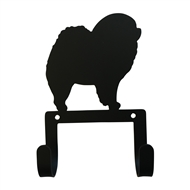 Chow Chow Black Metal Leash and Collar 2 Hook Holder