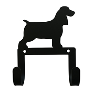 Spaniel Black Metal Leash and Collar 2 Hook Holder