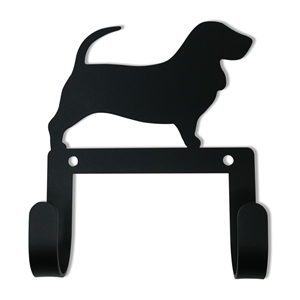 Basset Hound Black Metal Leash and Collar 2 Hook Holder