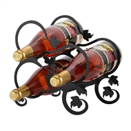 Grapevine 3-Bottle Rack - Black-Tabletop Style