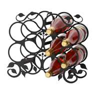 Leaf 10-Bottle Rack - Black-Tabletop Style