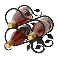 Leaf 3-Bottle Rack - Black-Tabletop Style
