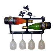 Grapevine 2-Bottle Rack - Black-Wall Mount Style
