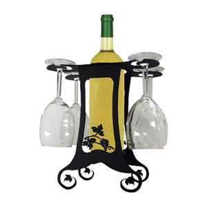 4-Glass 1-Bottle Holder Caddy Grapevine Design