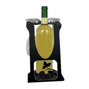 2-Glass 1-Bottle Holder Caddy Grapevine Design