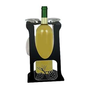 2-Glass 1-Bottle Holder Caddy Pinecone Design