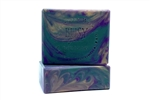 vegan soap for sensitive skin with unisex fragrance and mardi gras colors