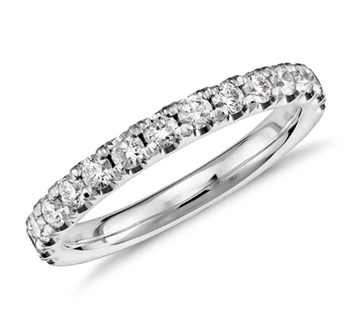 Stars' Brilliant Light Scalloped Pavé Diamond Ring in Platinum or Gold 0.46 ct. tw.