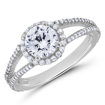 Gift of Fate Halo Diamond Engagement Ring F-G VS1-VS2