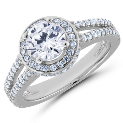 Cupid's Tradition Split Shank Halo Diamond Engagement Ring F-G VS1-VS2