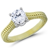 Golden Majesty Solitaire Engagement Ring Four Prongs