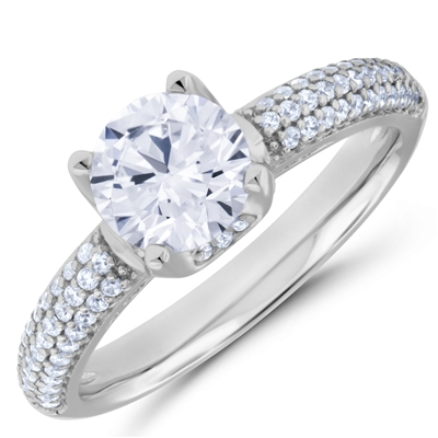 Platinum Dynasty Crown Diamond Engagement Ring F-G VS1-VS2