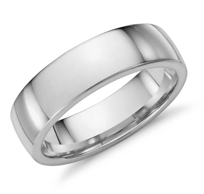 Astral Horizon Low Dome Comfort Fit Wedding Ring in Platinum or Gold 6mm