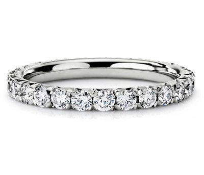 Pristine Memory French Pavé Diamond Eternity Ring in Platinum 1 ct. tw.